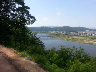 A view northwest along the Geumgang river from Gongsanseong