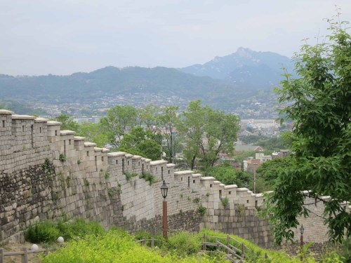 The part of the wall ascending Naksan
