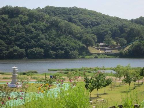 Gongsanseong's Manharu Pavilion and Yeongeunsa Temple from across the Geumgang River