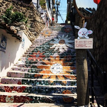 One of Ihwa's famous stairways at the beginning of April 2016