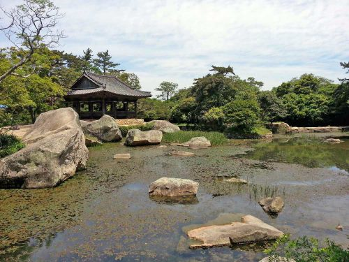 The Seyeonji pond with the Seyeonjeong pavilion