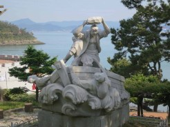 One of the statues in the Myeongnyang park in Haenam