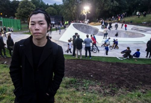 Koo Jeong A in front of Evertro Skate Park. Photo: James Maloney for Liverpool Echo