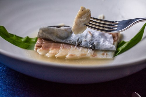 Poached sea bass with fermented cauliflower