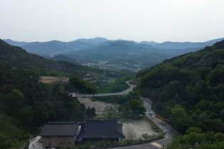 Pleasant views eastwards from Sancheong's newest hotel