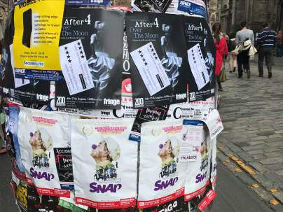 SNAP and After 4 advertised on one of the big bollards on the Royal Mile