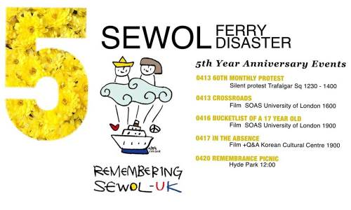 Sewol 5th anniversary events