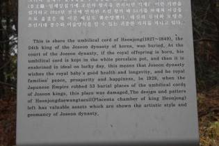 The resting place of King Heonjong's placenta chamber