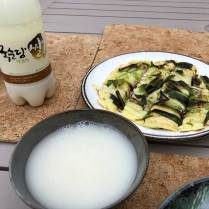 Home made pajeon with makgeolli
