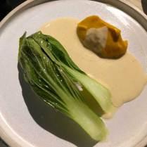 Monkfish, pak choi, beurre blanc, pumpkin