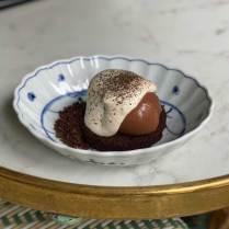70% chocolate cremeux, yuza compote, hoji tea and toasted grain cream