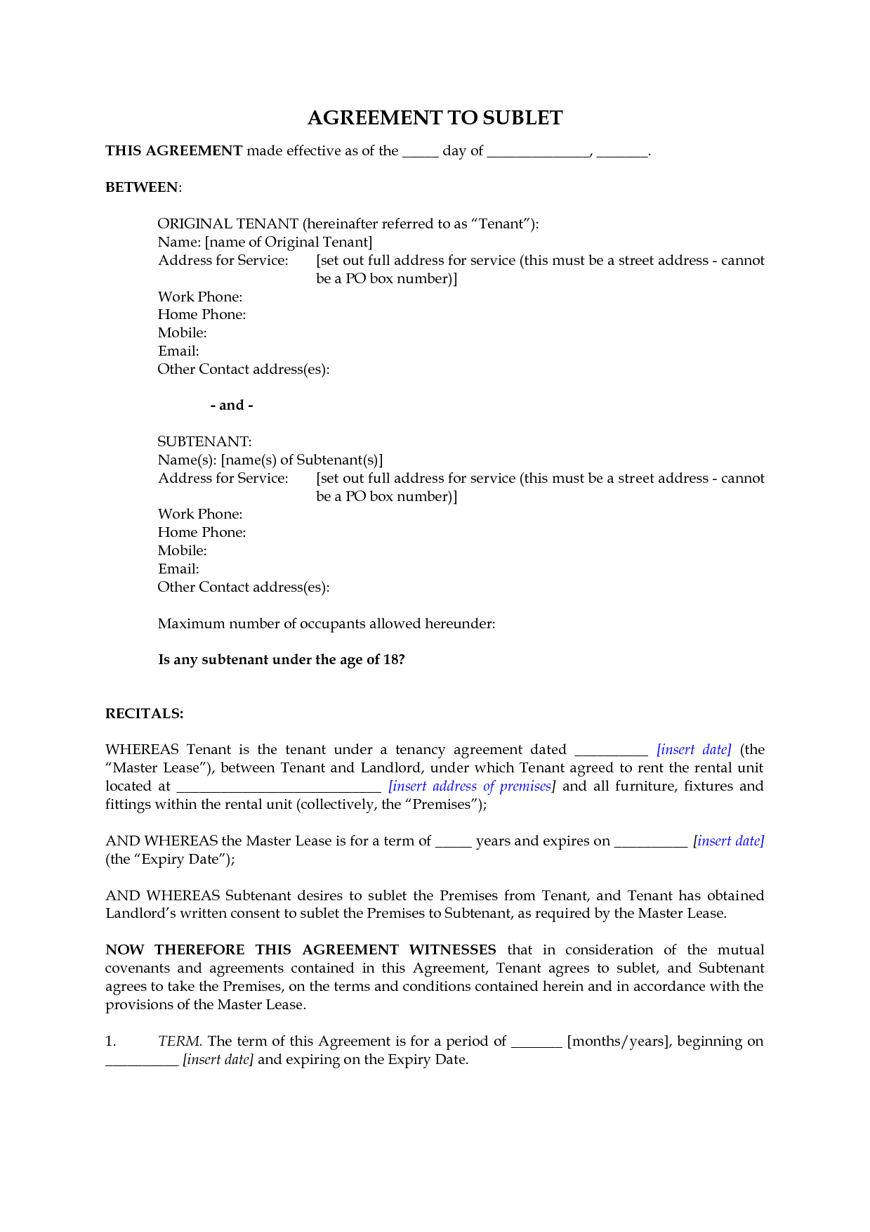 Subletting Contract Template Free Printable Documents