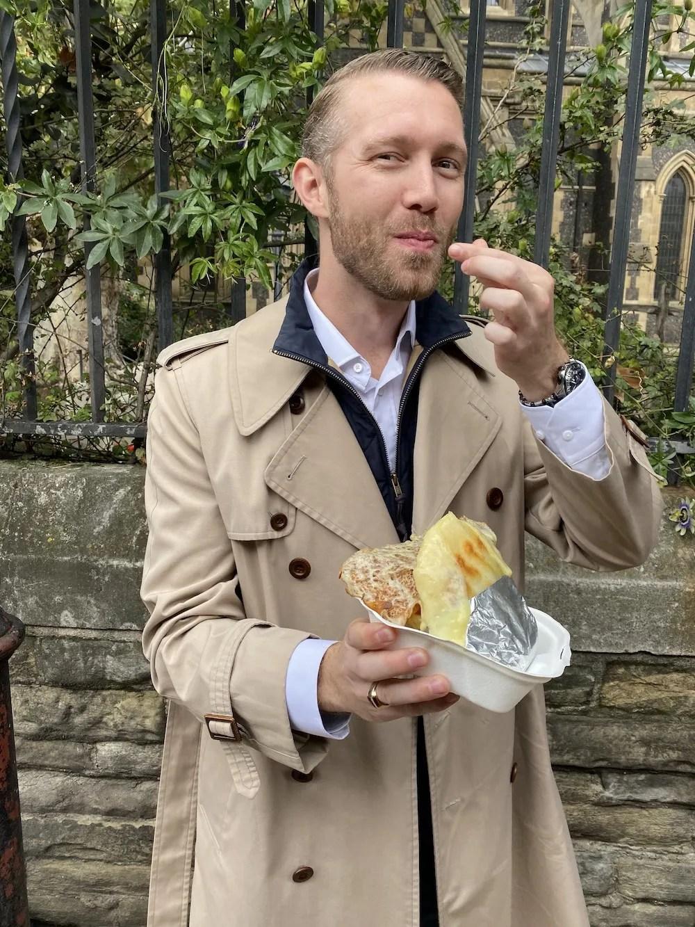 Leather Lane - Husband enjoying Food