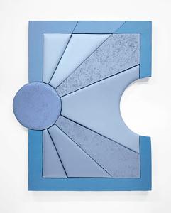 LEAH GUADAGNOLI FULL MOON RISING, 2020 Acrylic, pumice stone, canvas, insulation board, and aluminium panel 129.5 x 105.5 x 7 cm