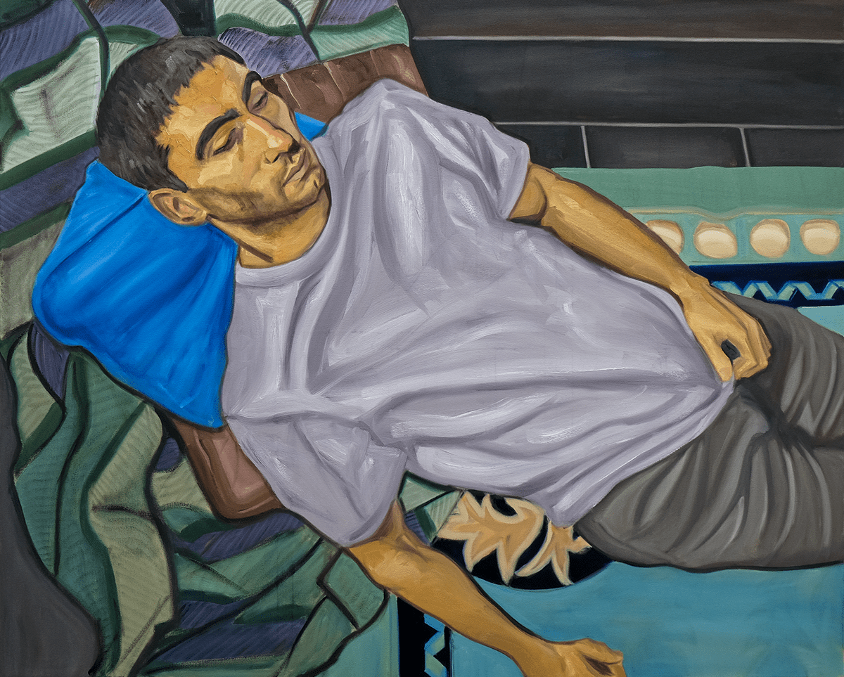 Tom White Niall In Repose, 2020 oil on canvas 152 cm x 122 cm © The Artist