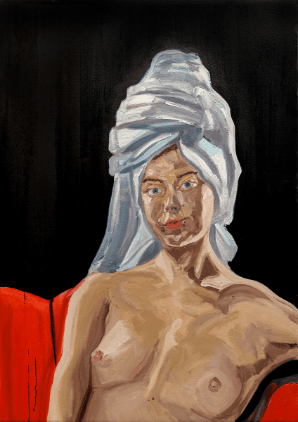 Tom White - Oriana, Fresh Out The Shower, 2020, oil on linen, 70 cm x 120 cm © The Artist