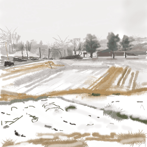 Caroline Leaf, View from Verrill Farm, 2020, Digital painting, © The Artist