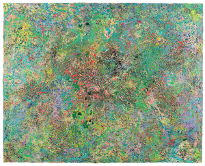 Mackenzie Perras, Archipelago, or Topographical representation of plastics as a function of human connection in the global marketplace., 2021, Plastic foam balls, synthetic hair, garbage, clay, concrete, beeswax, dirt, oil, acrylic, aerosol, damar, uv archival spray on canvas, 122 x 152 cm, 48 x 60 in, © The Artist