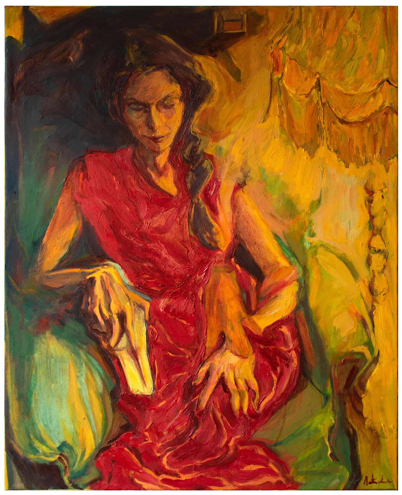 Natacha Martins, Portrait of A Woman, 2021, Oil on canvas, 100 x 80 cm, 39.3 x 31.5 in, © The Artist