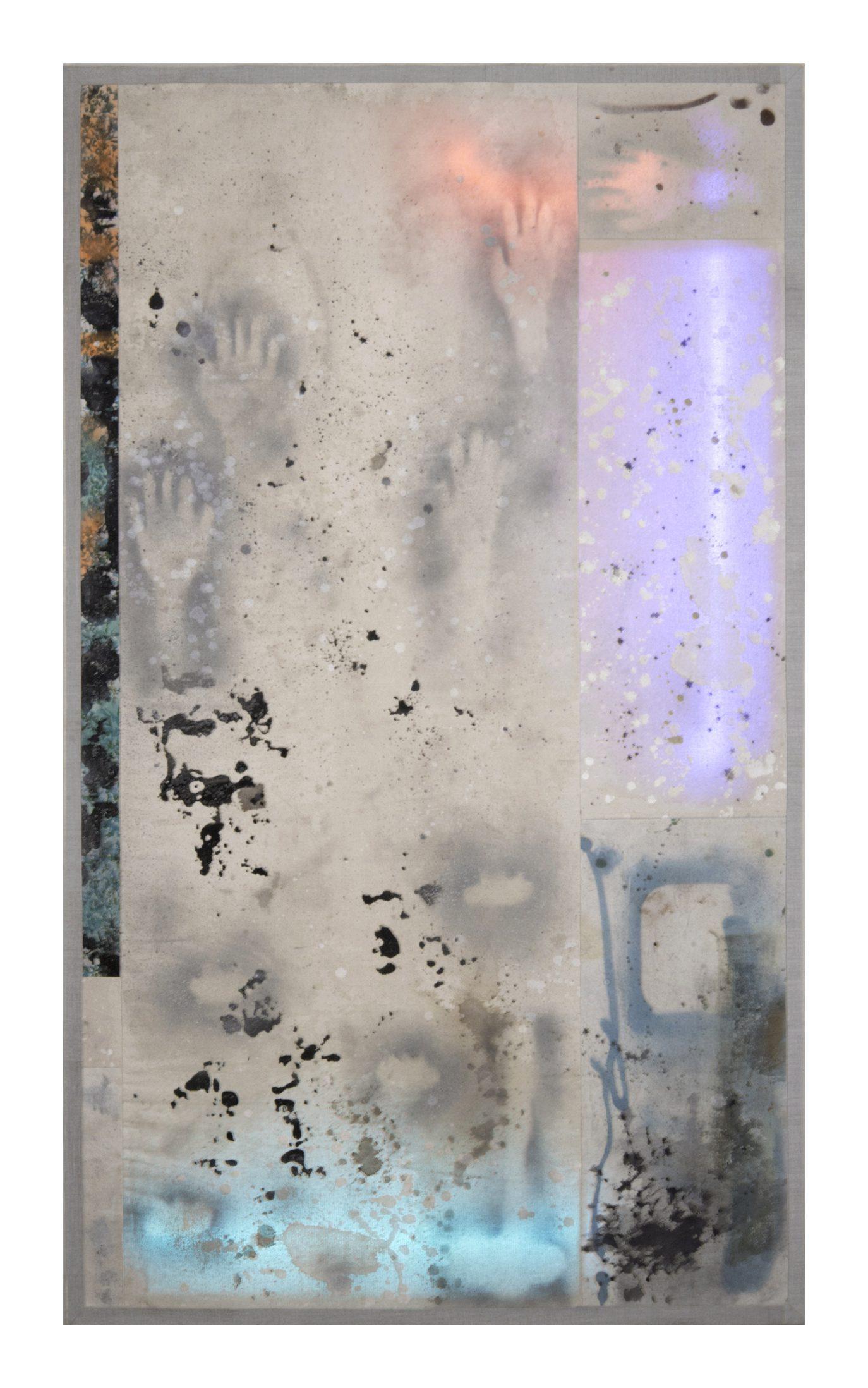 Ignacio Alvaro, Cavern IV, 2021, Mixed media on sewn canvas, neon lights, 160 x 100 cm, Price Available Upon Request, © The Artist
