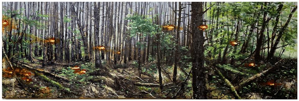 John Mulvany, Lady's Well Burn, 2021, Oil on canvas, 30 x 91.5 cm, £1,100, © The Artist