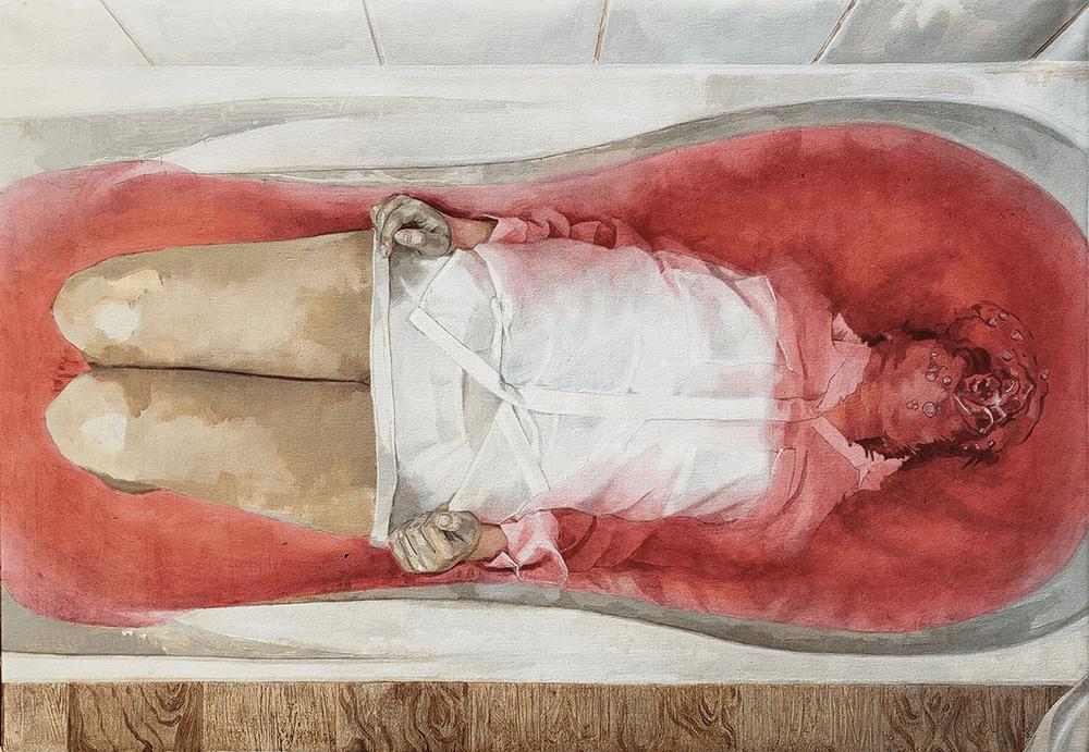 Yevhen Nahirnyy, Linear Study, 2020, Oil on Canvas, 70 x 100 cm, £1,200, © The Artist