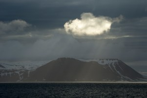Beautifully lit cloud along the Barents Sea, Svalbard