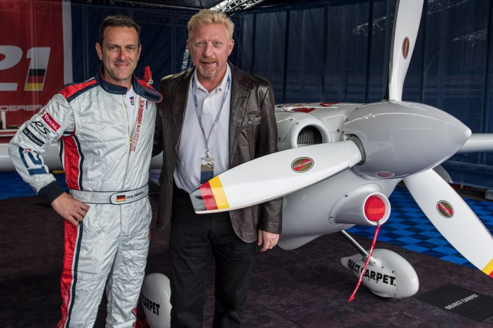 Matthias Dolderer of Germany meets former tennis player Boris Becker of Germany during the fifth stage of the Red Bull Air Race World Championship in Ascot, Great Britain on August 14, 2016. // Predrag Vuckovic/Red Bull Content Pool // For more content, pictures and videos like this please go to www.redbullcontentpool.com.