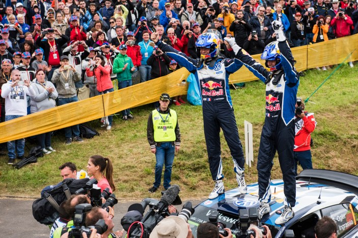 Sebastien Ogier (FRA) and Julien Ingrassia (FRA) celebrate the victory during the FIA World Rally Championship 2016 Germany in Trier, Germany on August 21, 2016 // Jaanus Ree/Red Bull Content Pool // For more content, pictures and videos like this please go to www.redbullcontentpool.com.