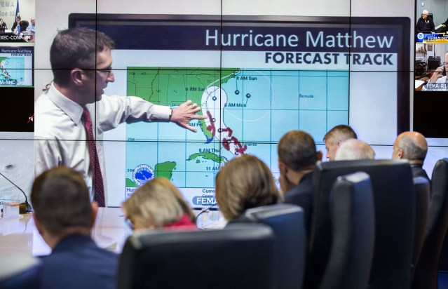 President Barack Obama watches a tracking forecast during a briefing on Hurricane Matthew at Federal Emergency ManagementÊAgency (FEMA) headquarters in Washington, D.C., Oct. 5, 2016. (Official White House Photo by Pete Souza)