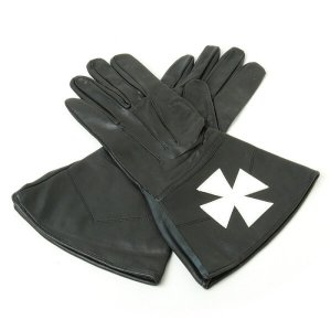 Masonic Black Knights Malta Leather Gauntlets