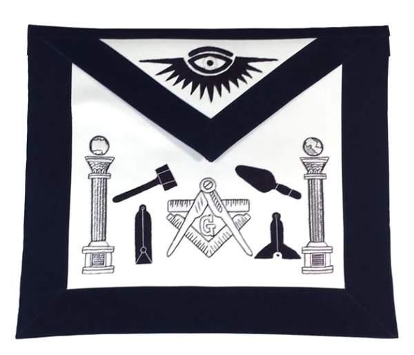Masonic Apron - Hand Embroidered Tools Navy Blue Apron