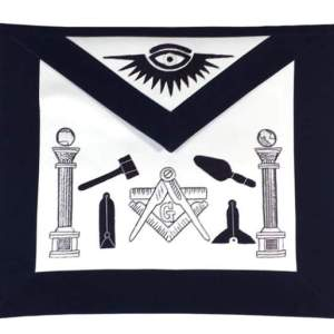 Masonic Apron - Hand Embroidered Tools Navy Blue Apron