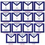 Masonic Blue Lodge Officers Aprons- Set of 15 Aprons