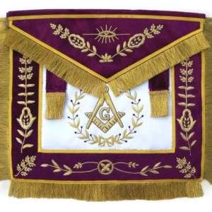 Masonic Grand Lodge Master Mason Apron Bullion Hand Embroidered