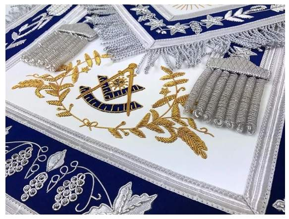 Masonic Grand Lodge Past Master Apron Gold & Silver Hand Embroidery Apron