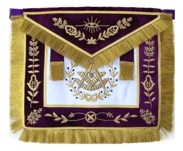 Masonic Grand Lodge Past Master Apron Hand Embroidered