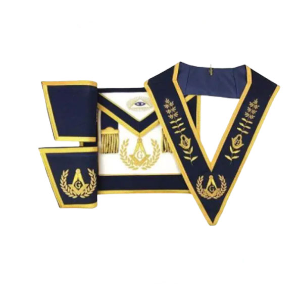 Master Mason Apron Hand Embroidery Apron Gauntlet and Collar Set Navy