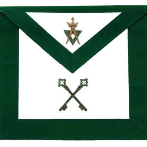Allied Masonic Degree AMD Hand Embroidered Officer Apron - Treasurer