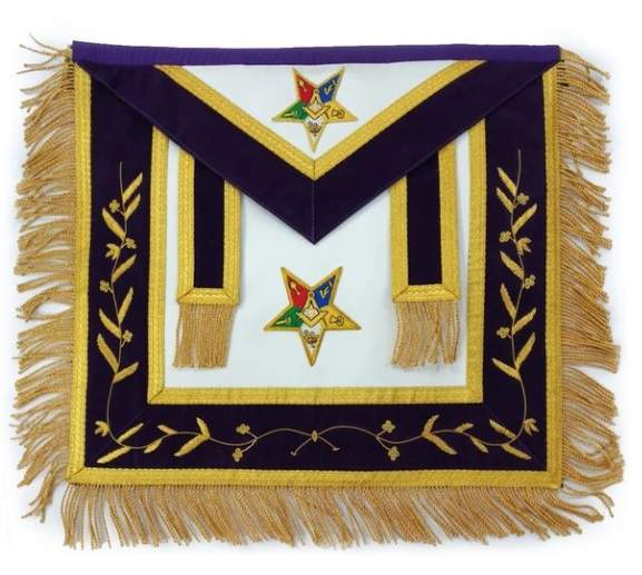Hand Embroidered Masonic OES Patron Apron Golden Mylar Tassels