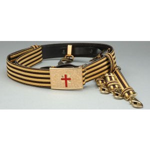 Knight Templar Past Commander Belt Gold and Black