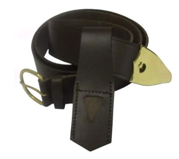 Knights Templar Belt and Frog with smooth brass fittings