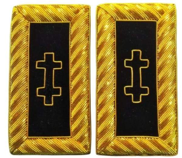 Knights Templar Shoulder Boards - Bullion Embroidered Grand Encampment Golden