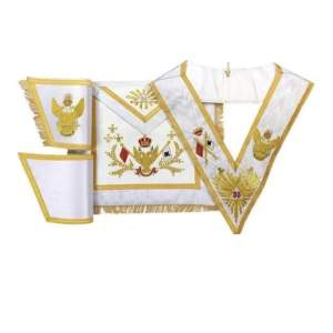 Rose Croix SCOTTISH RITE 33rd Degree Hand embroidered Apron Set 'WINGS UP' All Countries Flags
