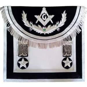 Scottish Rite Master Mason Handmade Embroidery Apron - Black Silver with Vine work
