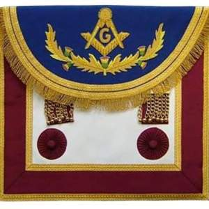 Scottish Rite Master Mason Handmade Embroidery Apron - Blue Maroon with Vine work