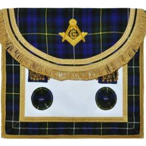 Scottish Rite Master Mason Handmade Embroidery Apron - Striped Blue