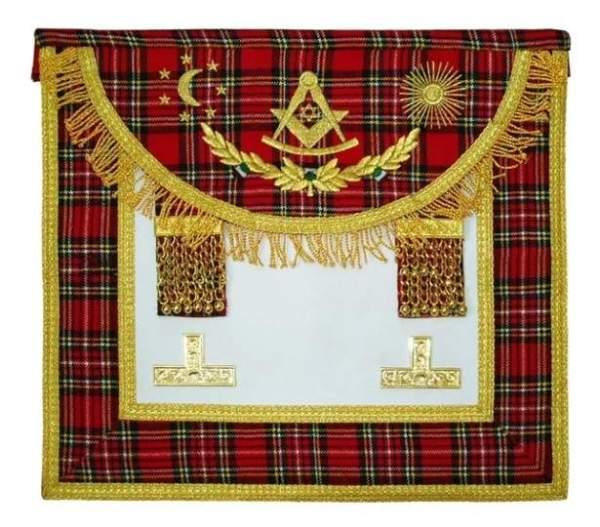 Scottish Rite Master Mason Handmade Embroidery Apron - Striped Red