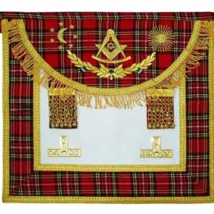 Scottish Rite Master Mason Handmade Embroidery Apron - Striped Red