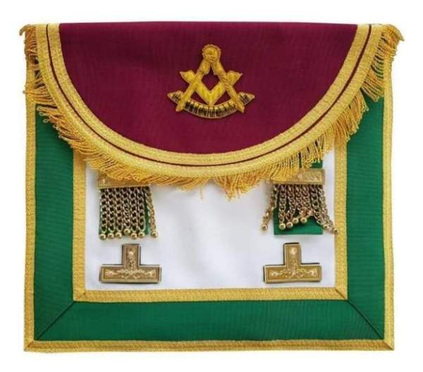 Scottish Rite Past Master Handmade Embroidery Apron with Levels - Maroon and Green